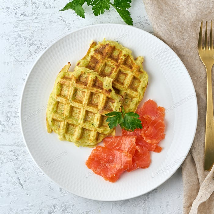 Zucchini waffles with salmon, fodmap diet top view