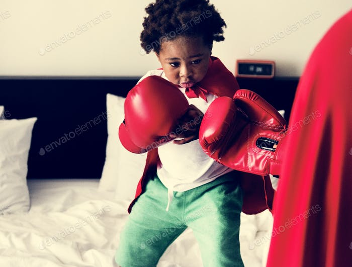 Black kid boxing