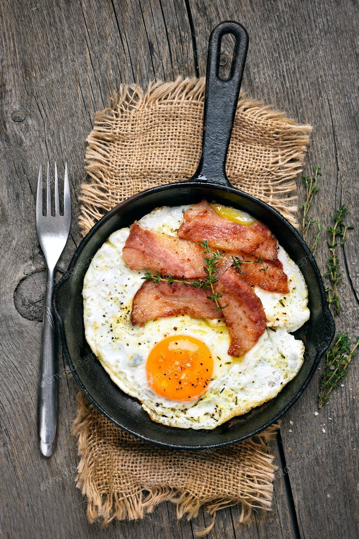 Fried eggs and bacon in frying pan