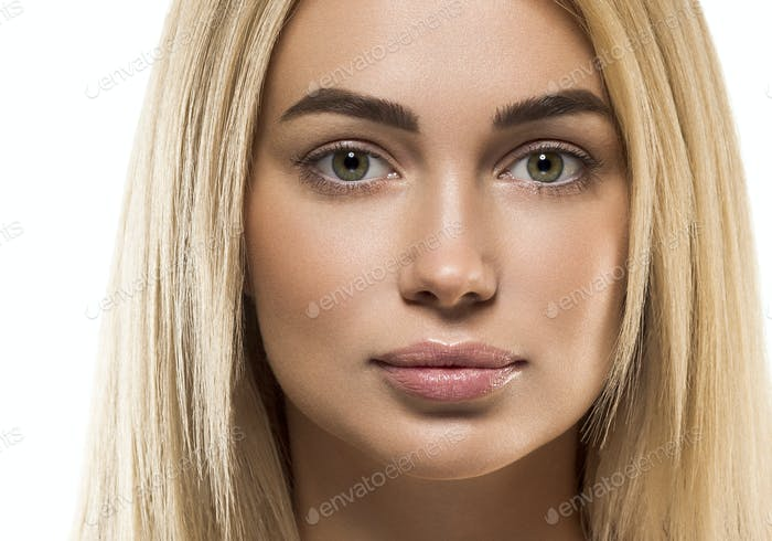 Beauty female face woman blonde hair healthy skin care natural make up fashion young spa model