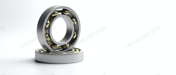 Ball bearing, metal spare part isolated on white. 3d illustration