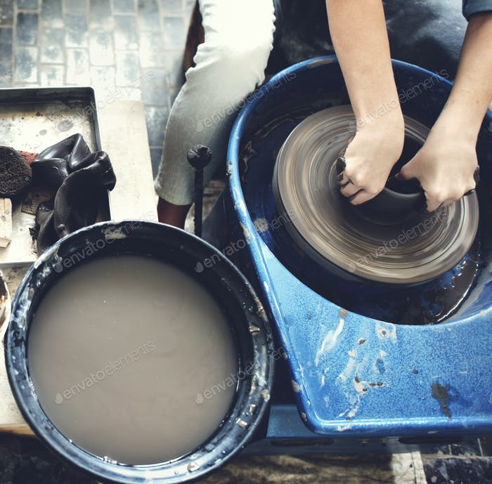 Pottery Jar Krug Schlamm Workshop Molding Keramik Konzept