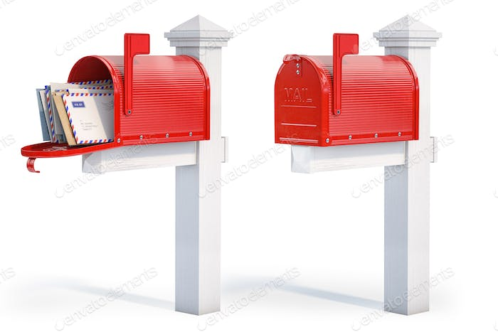 Open and closed mailbox with letters isolated on white background.