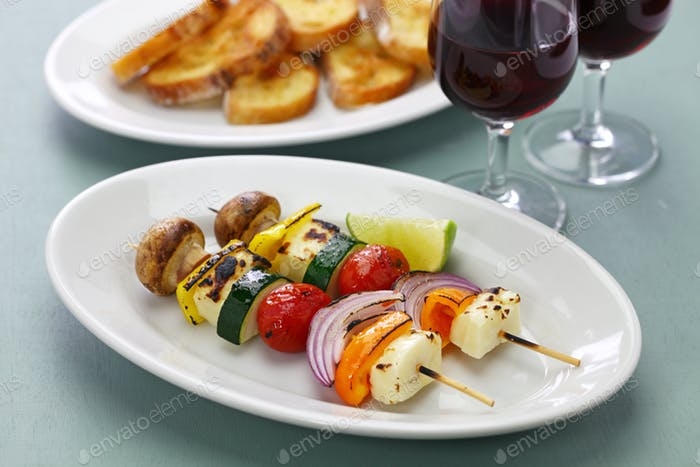 grilled halloumi cheese vegetables skewers kebab, healthy vegetarian dish