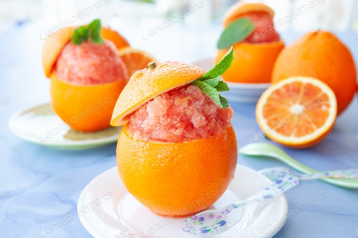 Orange sorbet served in fresh blood orange