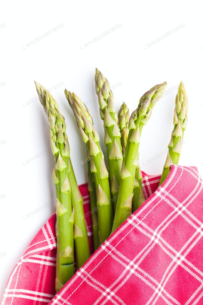 Fresh green asparagus on napkin.