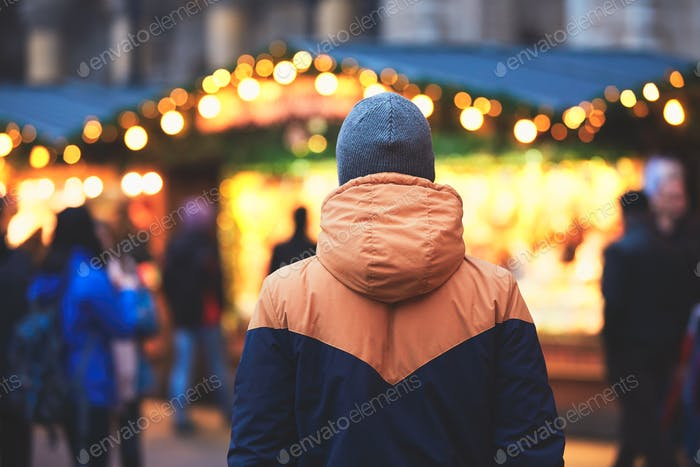 Man in christmas market