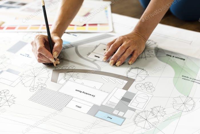 Design Studio Architect Creative Occupation Blueprint Konzept