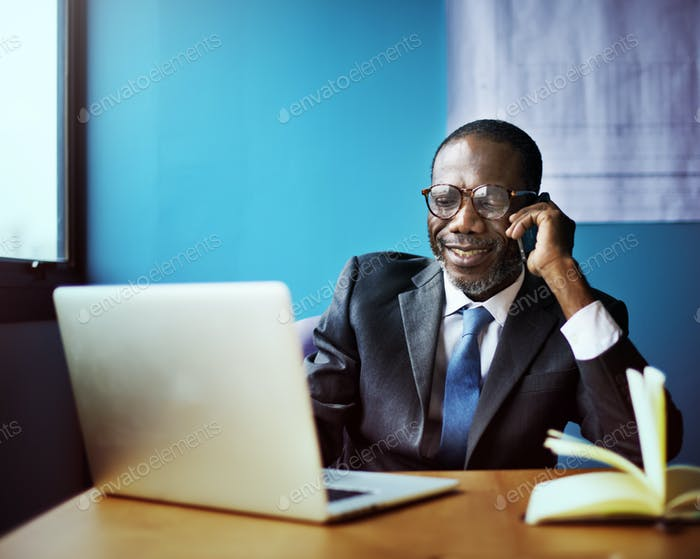 Businessman Talking Mobile Phone Communication Concept