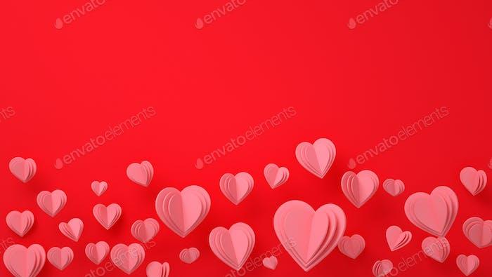 Paper Hearts Valentinstag - 3D machen romantische Karte - Hintergrund, Liebe, Valentinstag, Hochzeit
