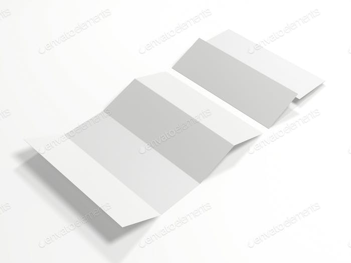 Blank white four folded map mockup isolated on white background. Mock up template for your design.