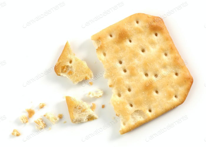 pieces and crumbs of cracker