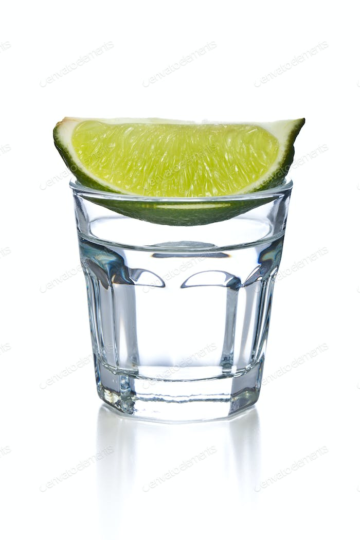 glass of clear alcohol