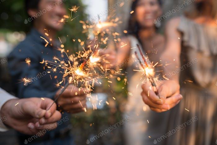 Burning sparklers