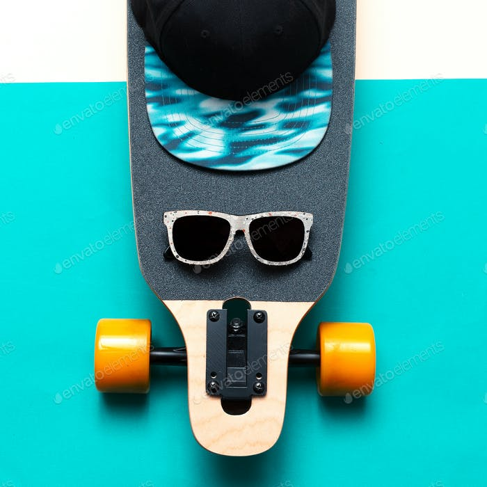Skateboard, Sunglasses, Cap, Love Urban fashion. Minimal Design