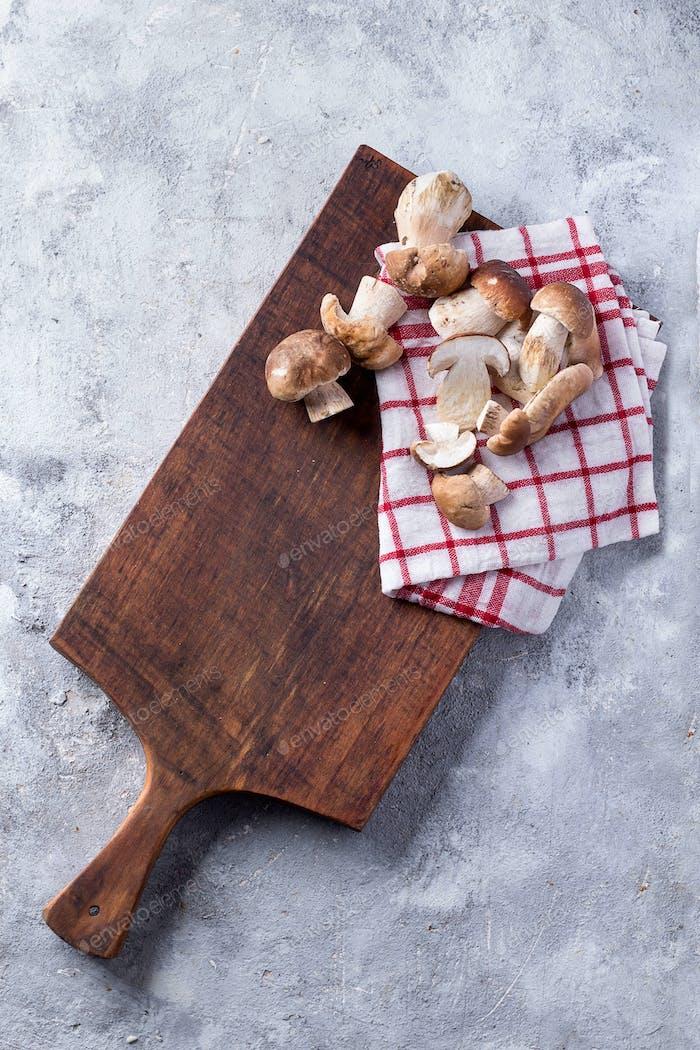 Porcini Mushrooms on a Stone Board