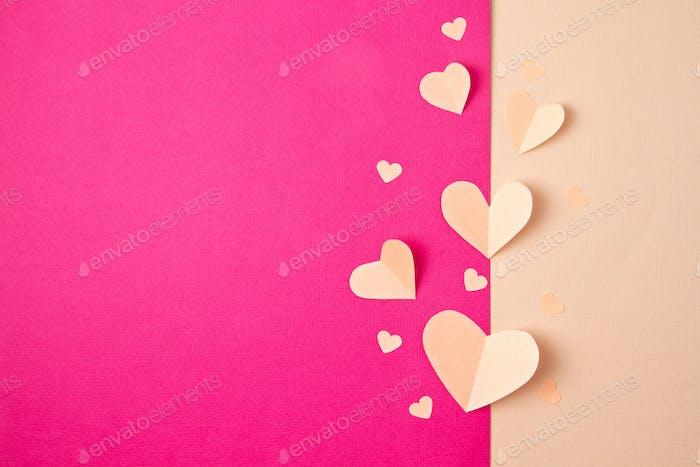 Hintergrund der Papierherzen. Liebe, Sainte Valentine, Muttertag, Geburtstagskarten