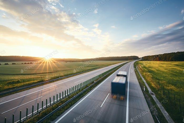 Highway at beautiful sunrise