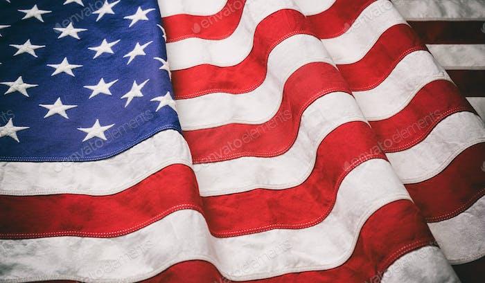 USA Flagge, US of America Zeichensymbol Hintergrund, Nahansicht