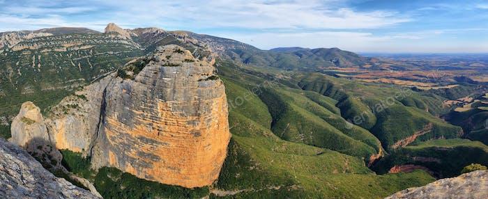 View of Salto de Roldan over Rio Flumen valley near Huesca, Spain