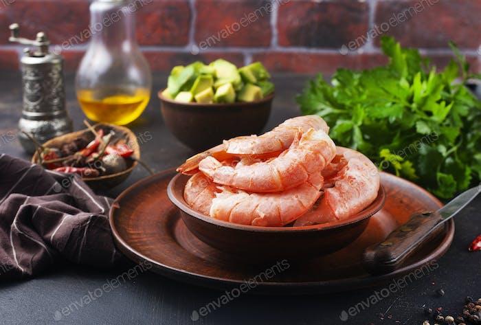 boiled shrimps in bowl