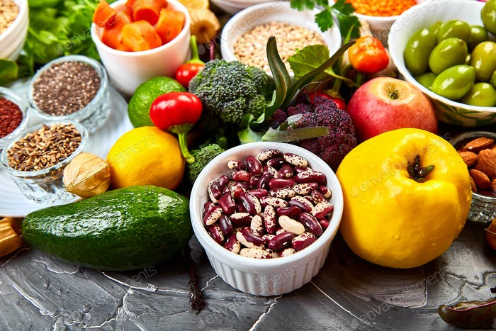 Selection of healthy food, clean eating concept, vegan foods.