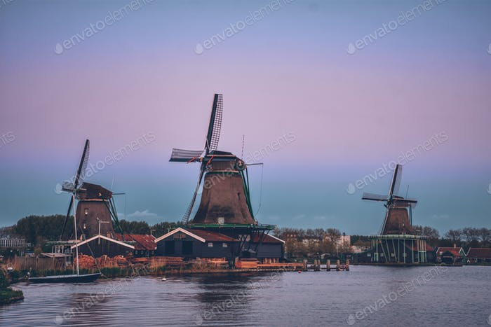 Windmills at Zaanse Schans in Holland in twilight after sunset