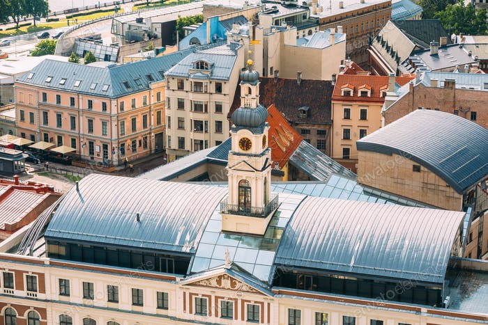 Riga, Latvia. Top View Of Famous Landmark - Riga City Hall In Su