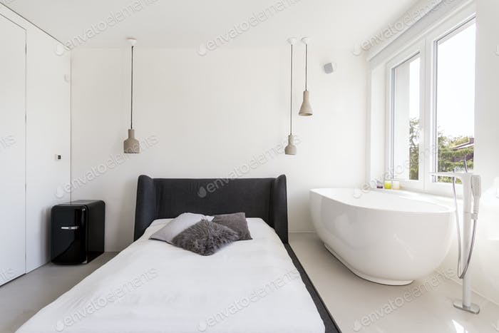 Guest room with bed and bathtub
