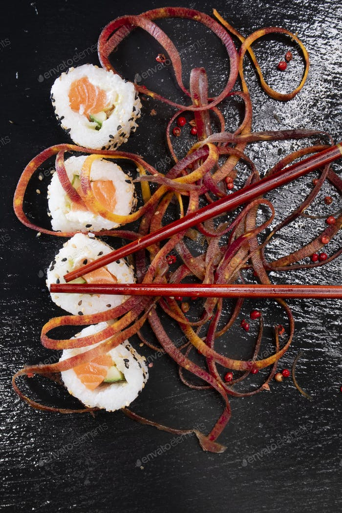 White rice sushi with carrot threads
