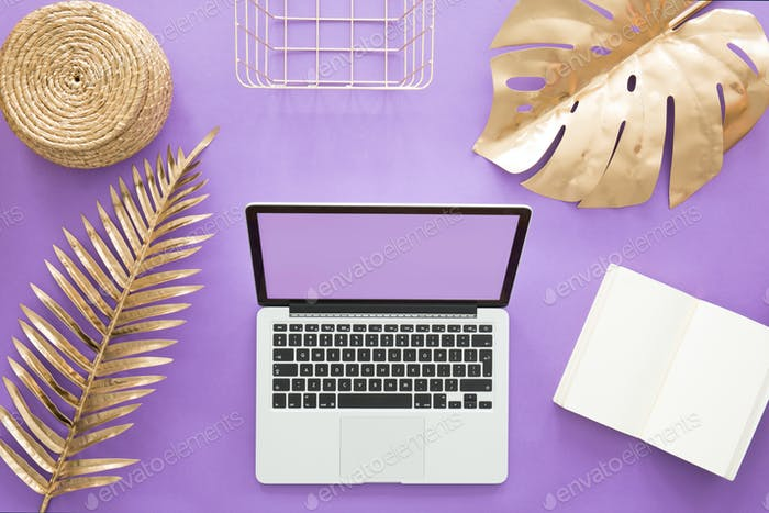 Home office on violet background