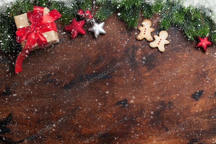 Christmas gingerbread cookies and gift box