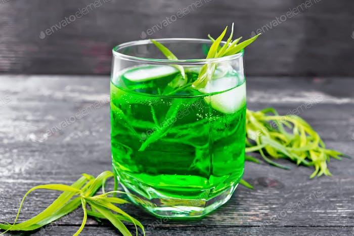 Lemonade Tarragon in glass on board