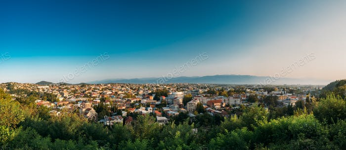 Kutaisi, Georgia. Cityscape In Sunny Autumn Evening