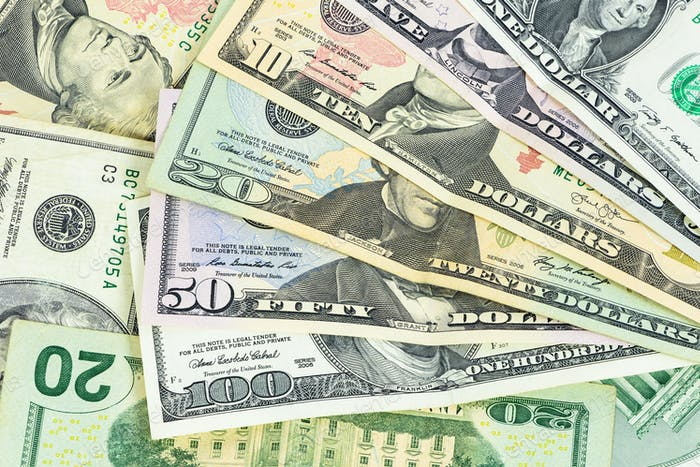 Set of us dollars banknotes
