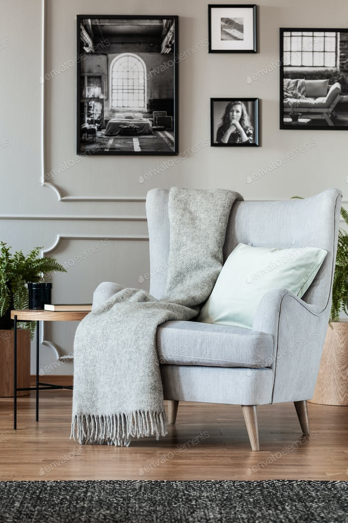 Cómodo sillón gris con acogedora manta y almohada en moda