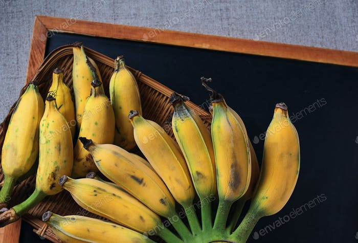 Top view yellow ripe banana that harvested from an organic farm