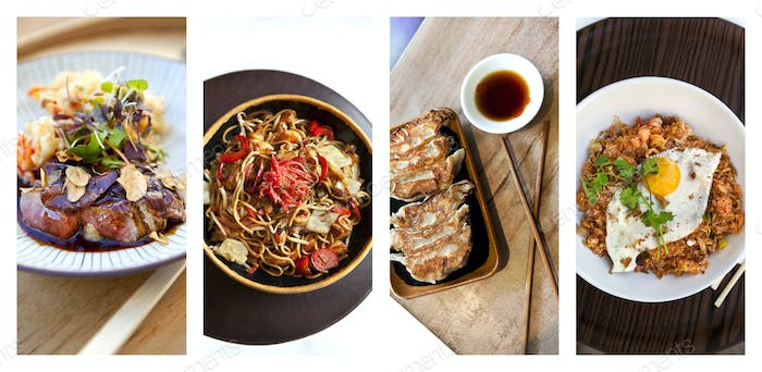 Collage of Asian dishes and meals