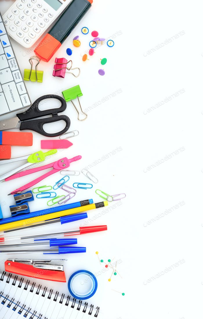 School supplies on white desk. Kids creativity flat lay