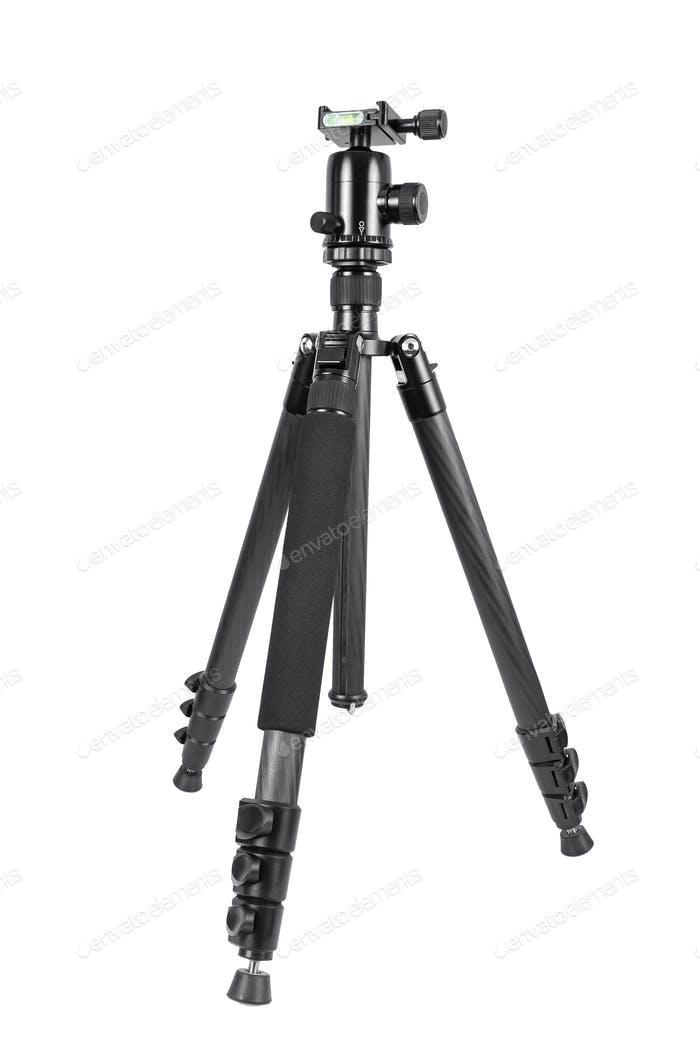 Photo tripod with ball head on white background