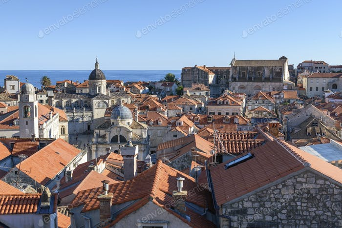 View across the rooftops of the historic old town of Dubrovnik, and a view to the Adriatic Sea.