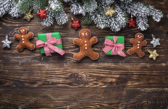 Weihnachten Hintergrund mit Filz Lebkuchenmann