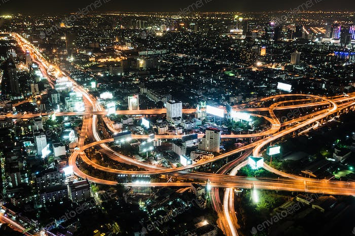 High view night scene of Bangkok, Thailand