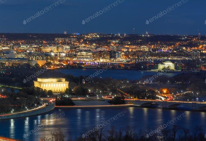 Panorama Vista superior escena de Washington DC en el centro de la ciudad que puede ver el Capitolio de los Estados Unidos, Washington