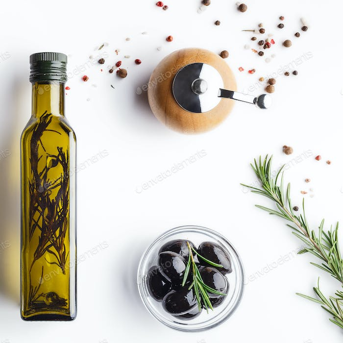 Organic olive oil with herbs concept