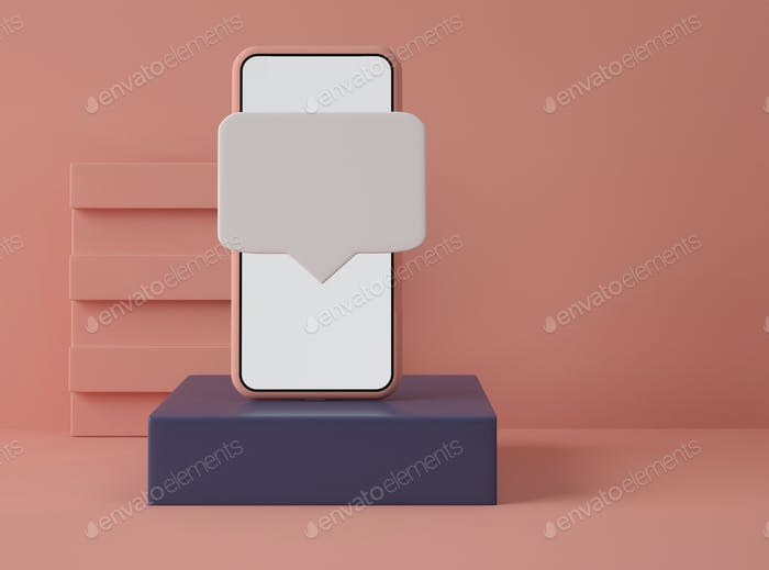 3D Illustration. Smartphone with speech bubble.