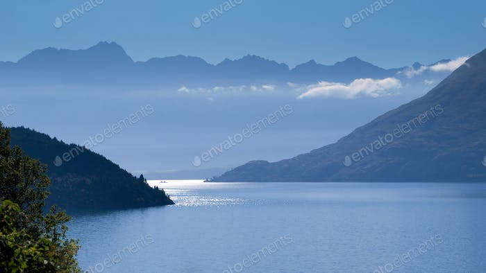 Blue Haze over Lake Wakatipu and Remarkables Mountains