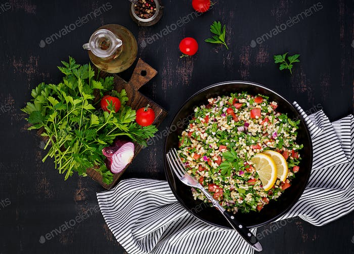 Tabbouleh salad. Traditional middle eastern or arab dish.