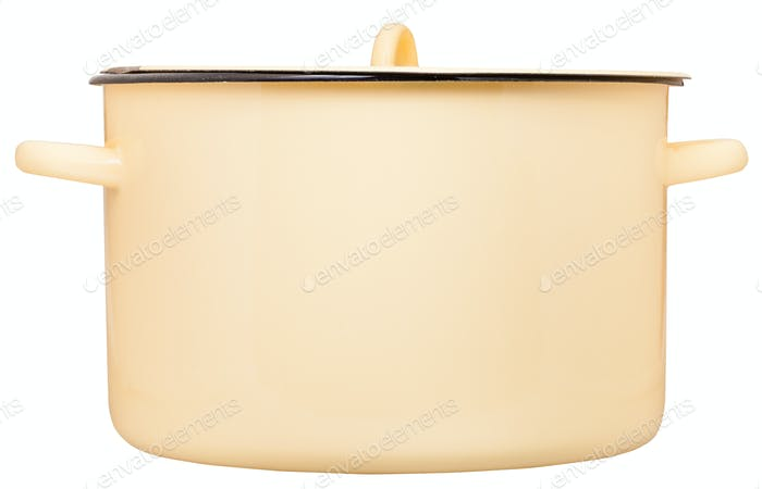 side view of large enamel saucepot closed by cover