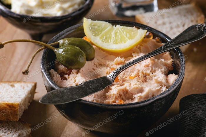 Salmon pate with red caviar